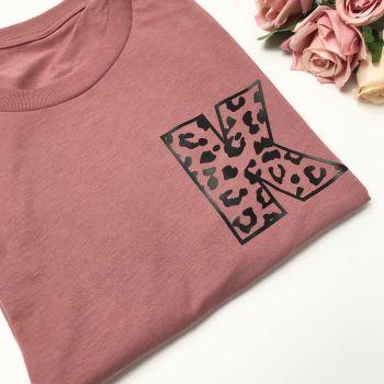 Leopard Print Initial Tee