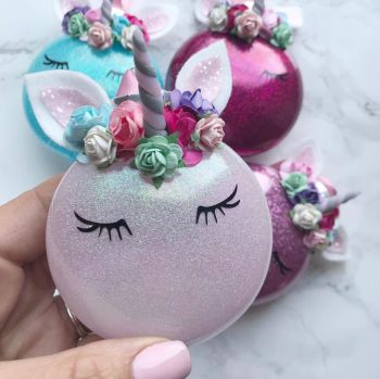Flower Crown Unicorn Bauble