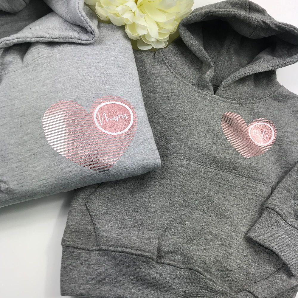 Adults Striped Heart Hoodie