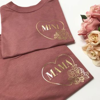 Mama and Mini Tee Set FLORAL DESIGN