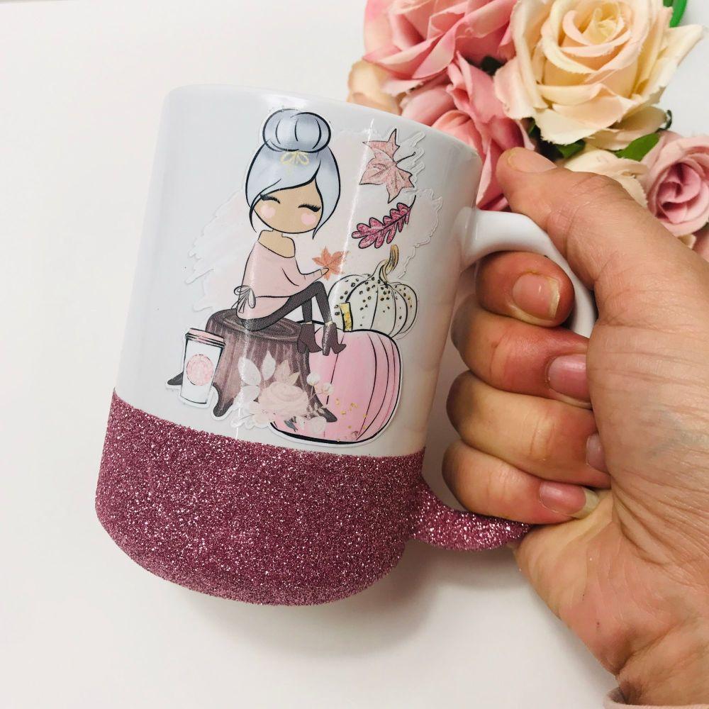 Pink Girl Pumpkin Mug