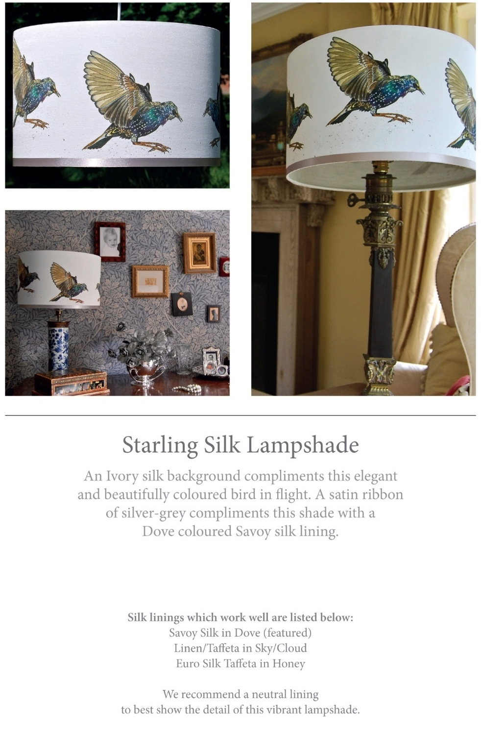 starling silk lampshade