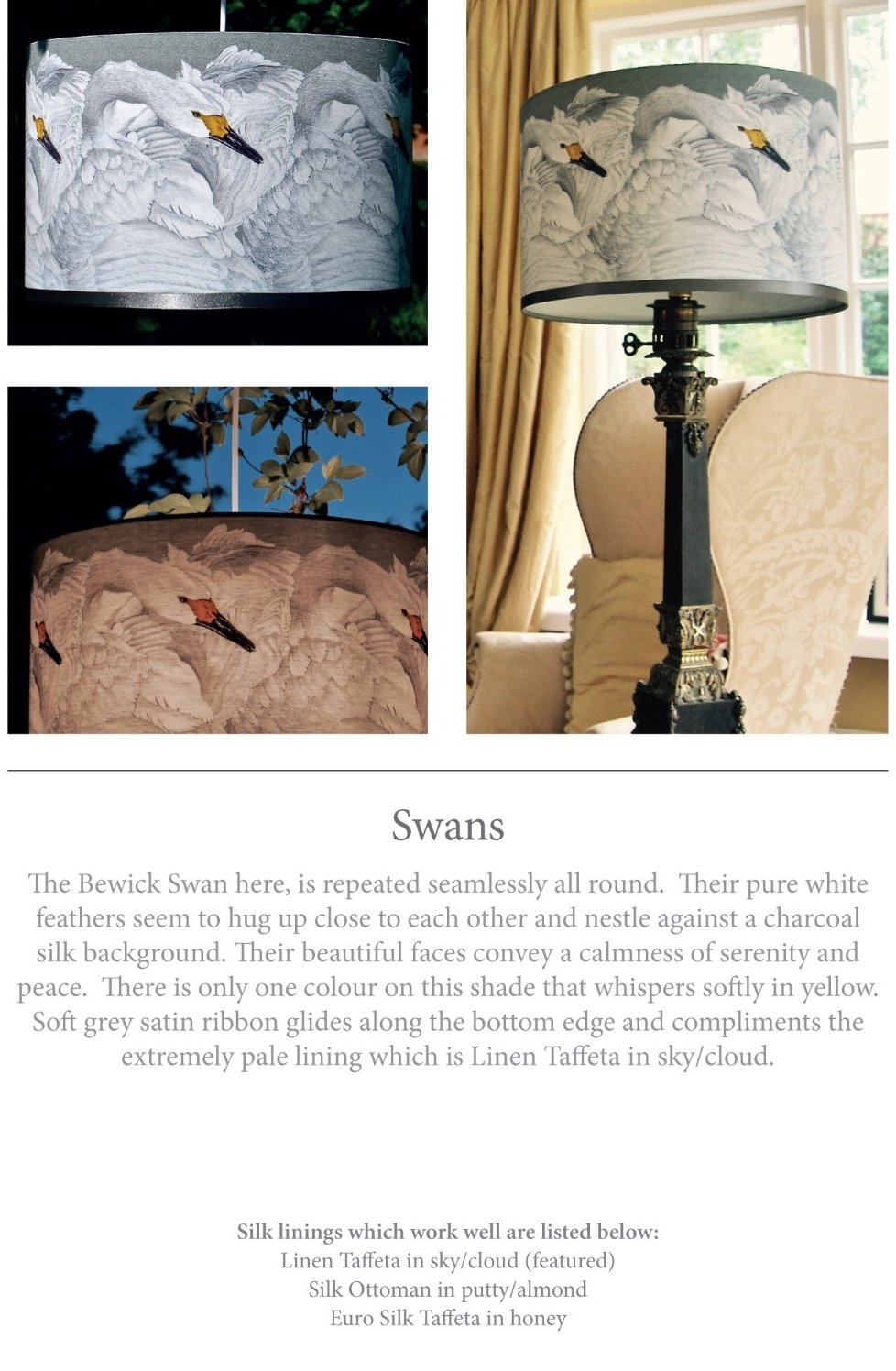 swans silk lampshade