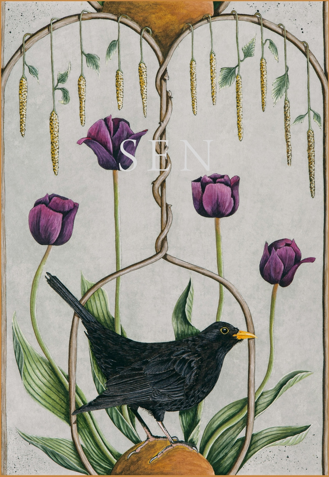 Blackbird bird painting