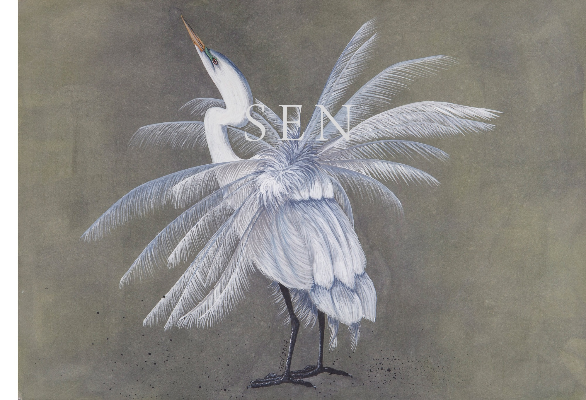 Egret bird painting