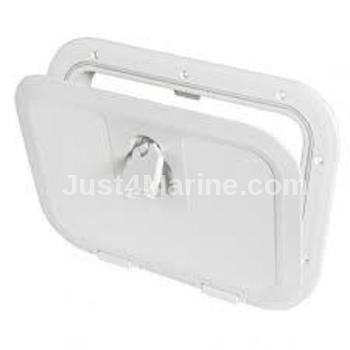 Boat Deck Inspection Access Hatch White 380 x 280mm 180 Degree Opening
