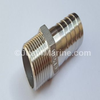 "Hosetail Adapter Male Stainless Steel 316 Marine  - 1"" x 30mm"