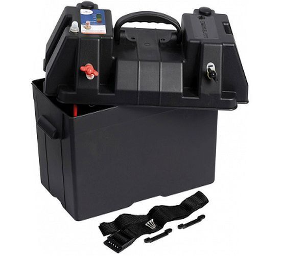 Battery Power Box Carrier Watertight - 10A with Battery Charge & LED Gauge