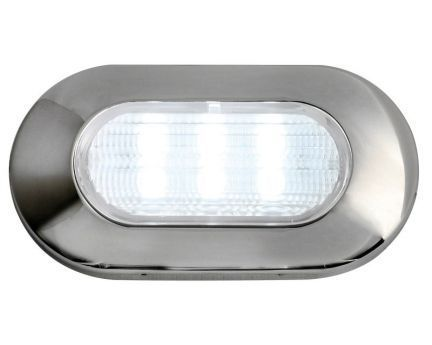 LED Oval White Light Stainless Steel  - 83 Lumen 12V 1.2W IP67 Recessless