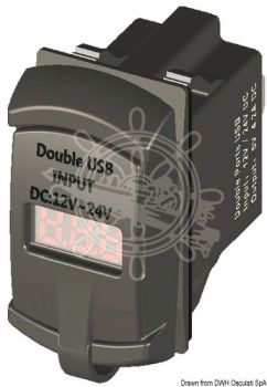 Double/Dual USB Digital 12V / 24V Port Current Plug + Voltmeter