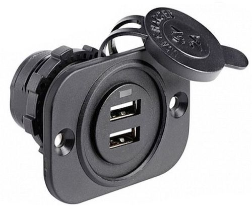 Lighter Socket Double USB Socket 12/24V - Waterproof
