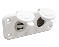 Lighter Socket and Double USB Socket - 12V 2.1A, 1A Waterproof