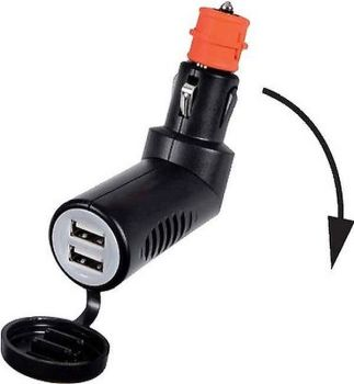 Double USB Plug In Cigarette Lighter /Current Socket - Watertight Cap 12/24V 3.1A