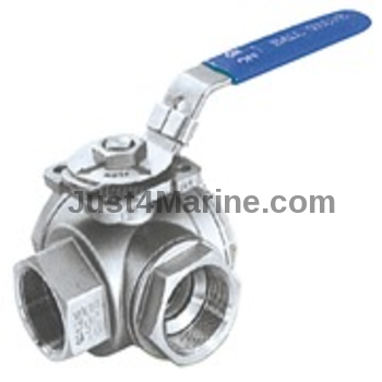 Seacock Ball Valve 3-Way Sphere 316 Stainless Steel - BSP 1.25""