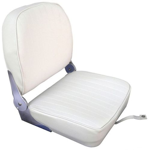 Cushioned Boat Seat with Folding Backrest - White