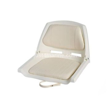 Boat Seat with Folding Backrest - White 500 x 430mm