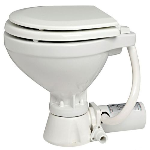 Electric Toilet 12V White Porcelain - Soft Close Compact
