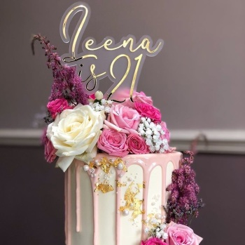 Name and Age Double Layer Cake Topper
