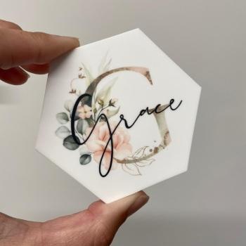 PRETTY IN PRINT - Blush Initial & Name