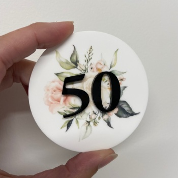 PRETTY IN PRINT - Floral Burst with layered Initial or Age