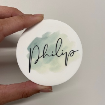 PRETTY IN PRINT - Mint Brush with Name
