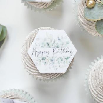 PRETTY IN PRINT - Set of three 'Happy Birthday' Charms - Eucalyptus printed design