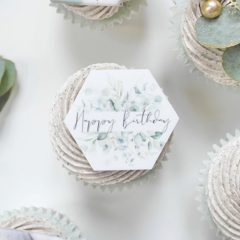 PRETTY IN PRINT - Set of three 'Happy Birthday' Charms - Eucalyptus printed