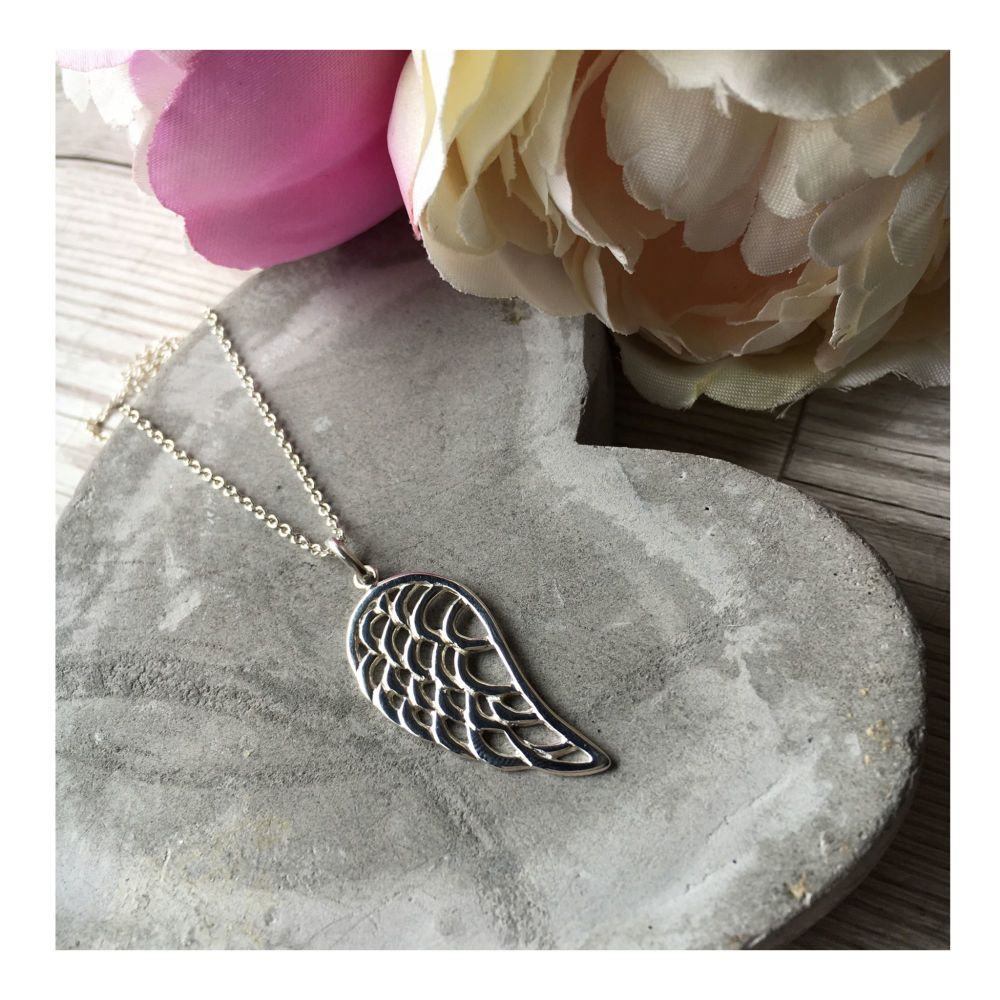 Large Sterling Silver Angel Wing Pendant