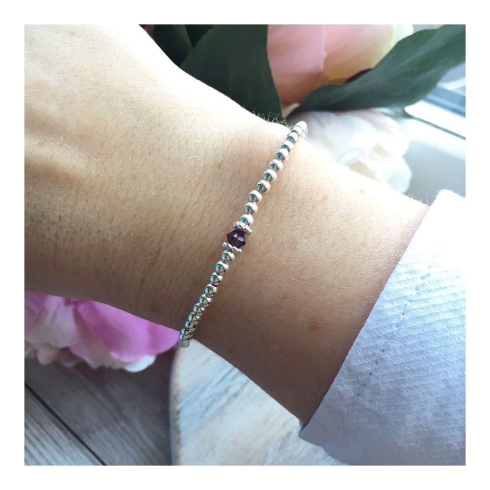 Swarovski Crystal Birthstone Bracelet- February