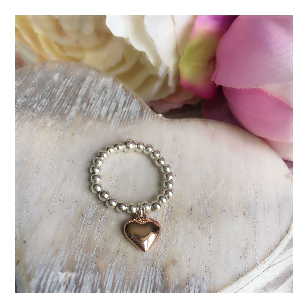 Sterling Silver & Rose Gold Heart Ring