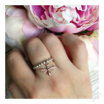Sterling Silver & Rose Gold Bee Ring