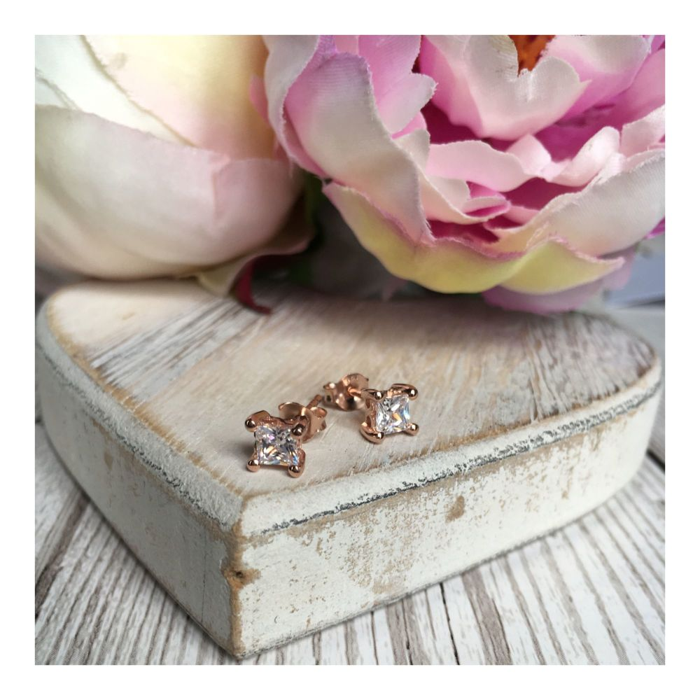 Rose Gold Crystal Earring Stud
