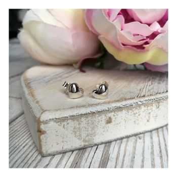 Sterling Silver Puffed Heart Studs