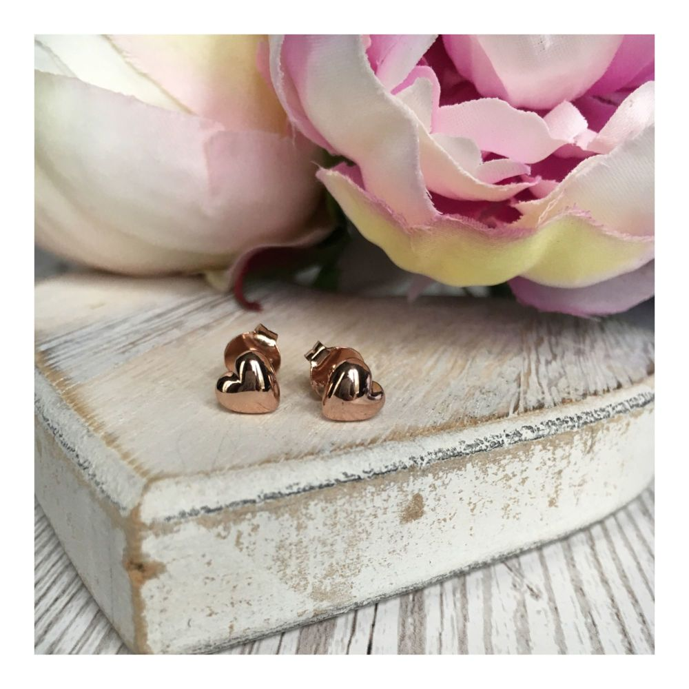 Rose Gold Puffed Heart Studs