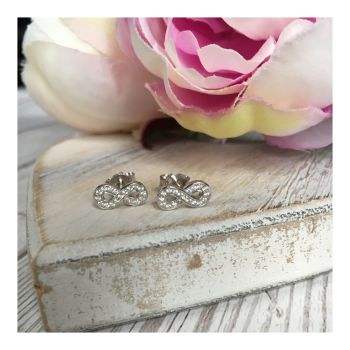 Sterling Silver Crystal Infinity Studs