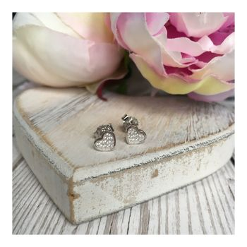 Sterling Silver Crystal Heart Studs