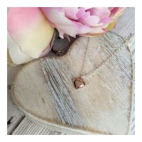 Small Rose Gold Puff Heart Pendant