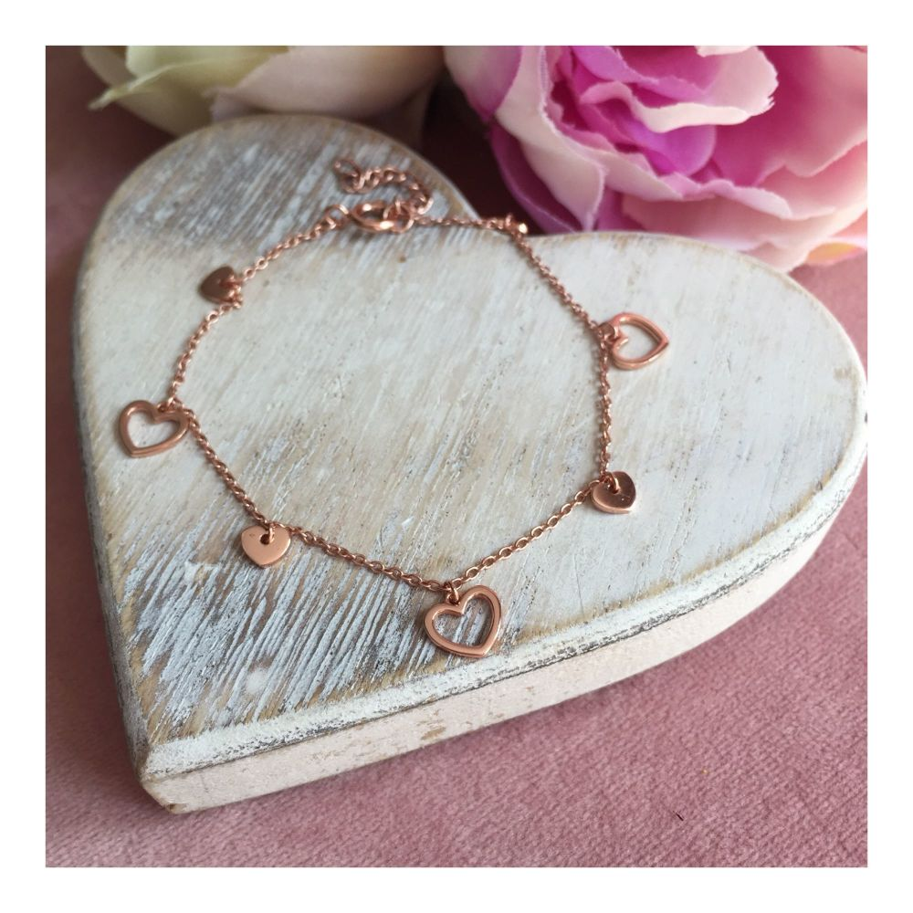 Rose Gold Hearts Charm Bracelet