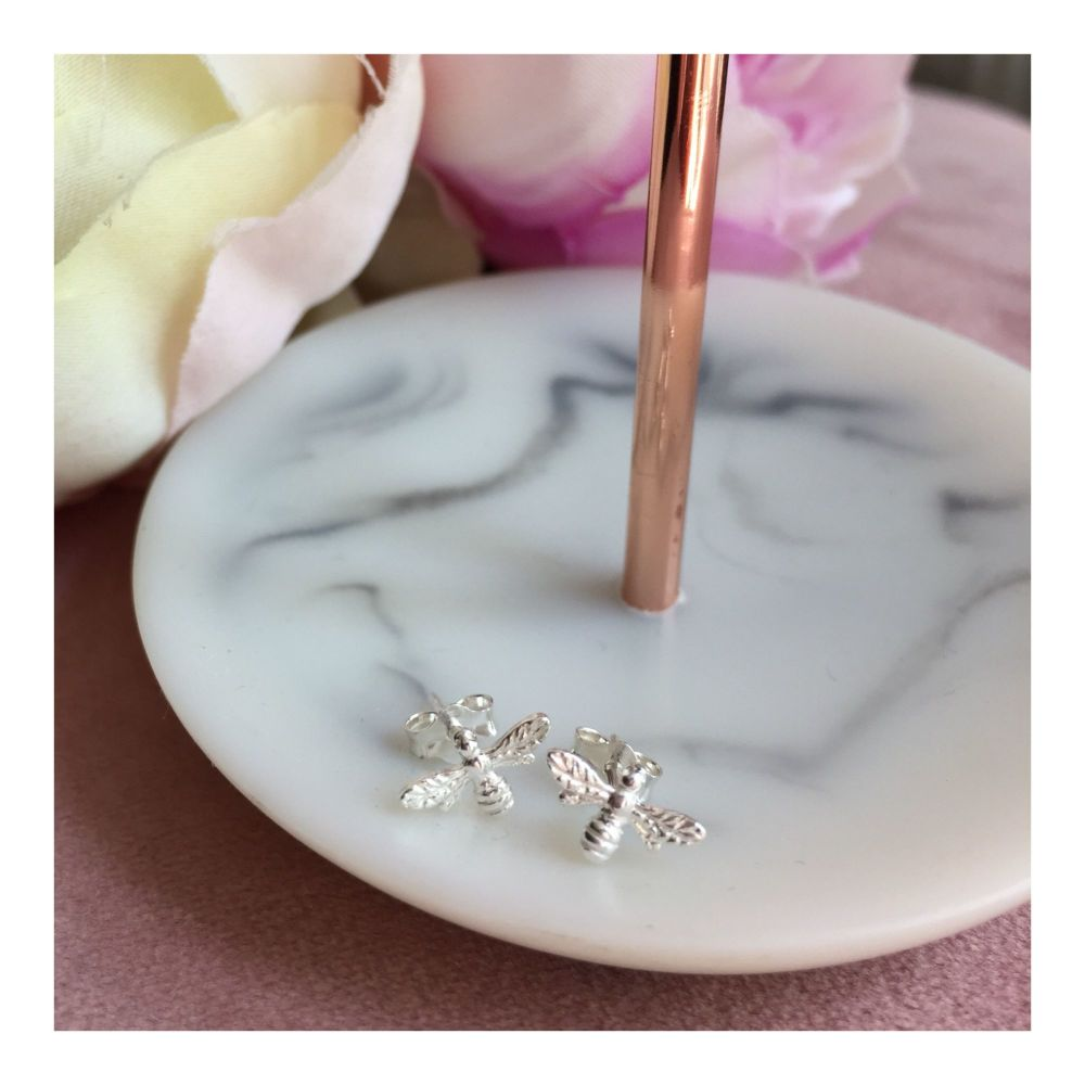 Teeny Sterling Silver Bee Studs