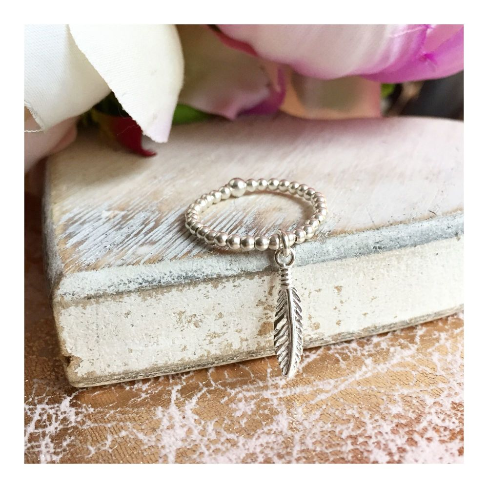 Sterling Silver Elasticated Feather Charm Ring