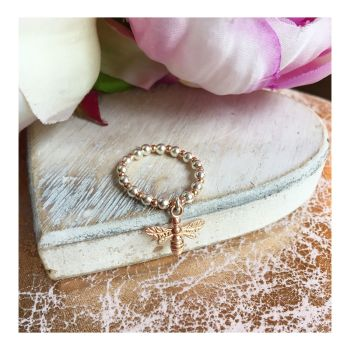 Silver & Rose Gold Mix Bee Ring