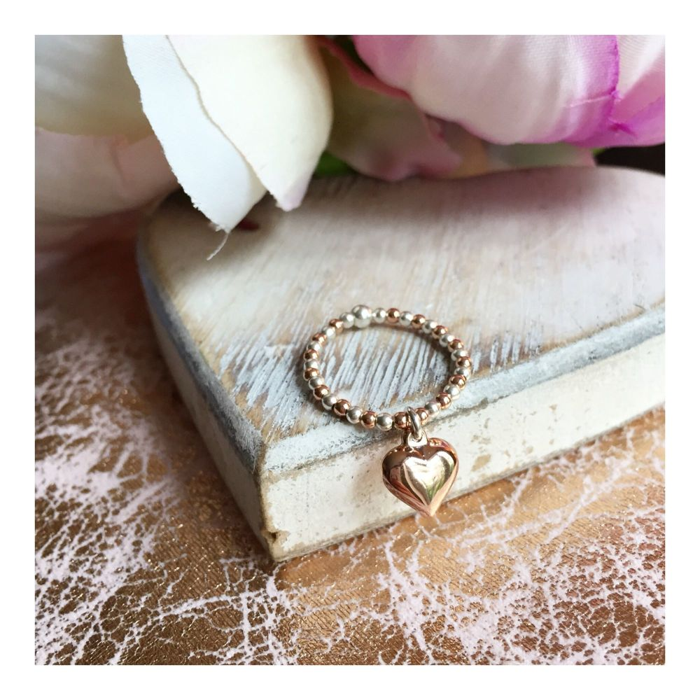 Sterling Silver & Rose Gold Bubble Heart Ring