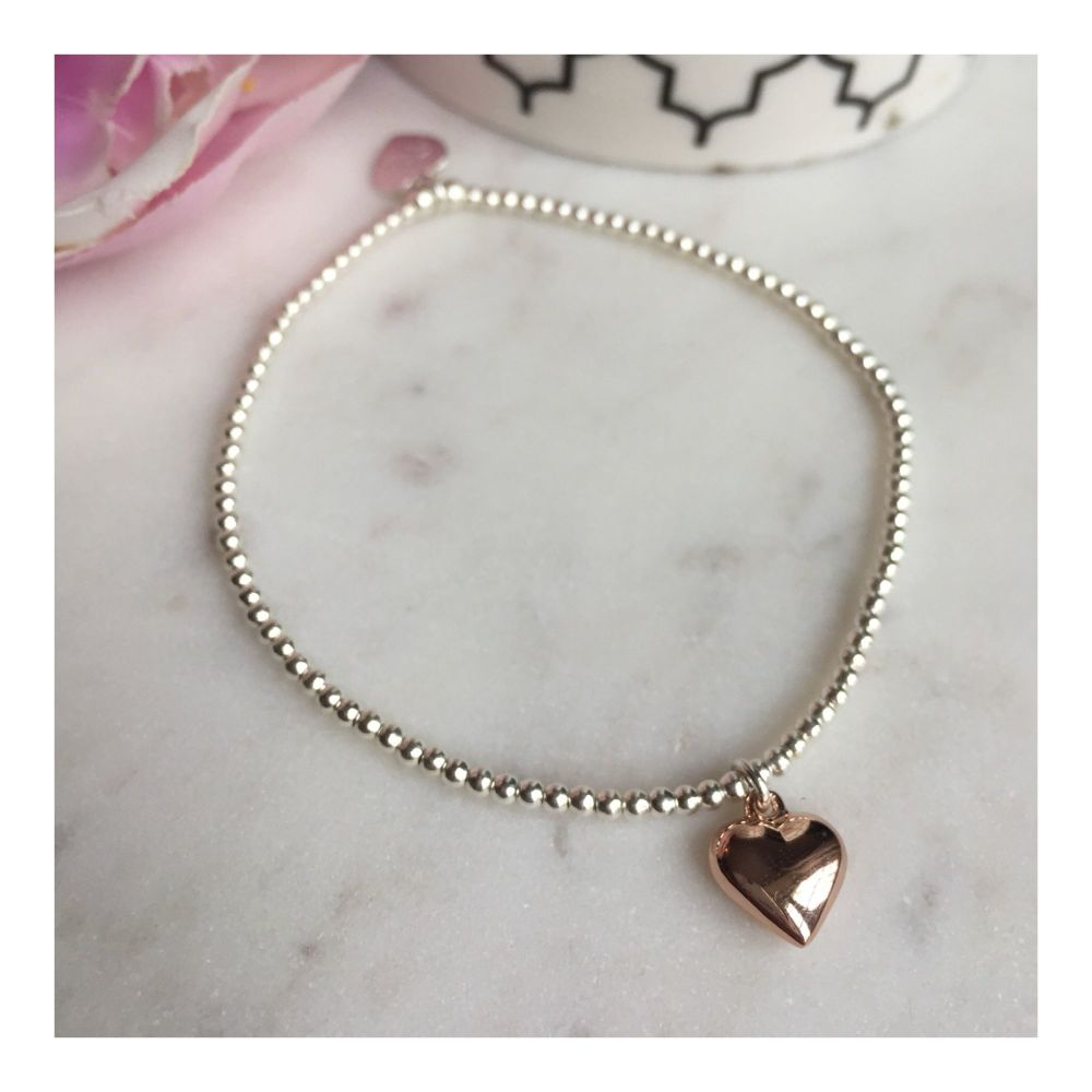 Teeny Sterling Silver Bracelet with Rose Gold Heart