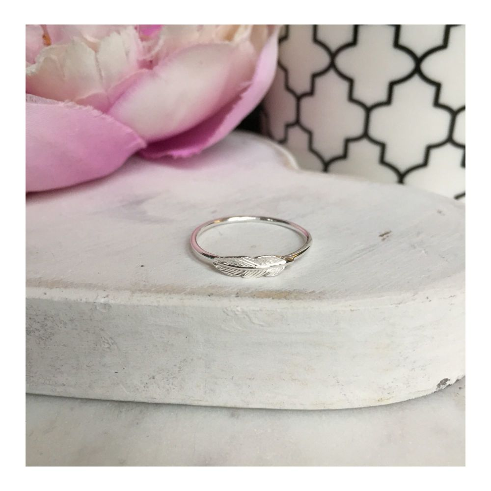 Simple Sterling Silver Feather Ring