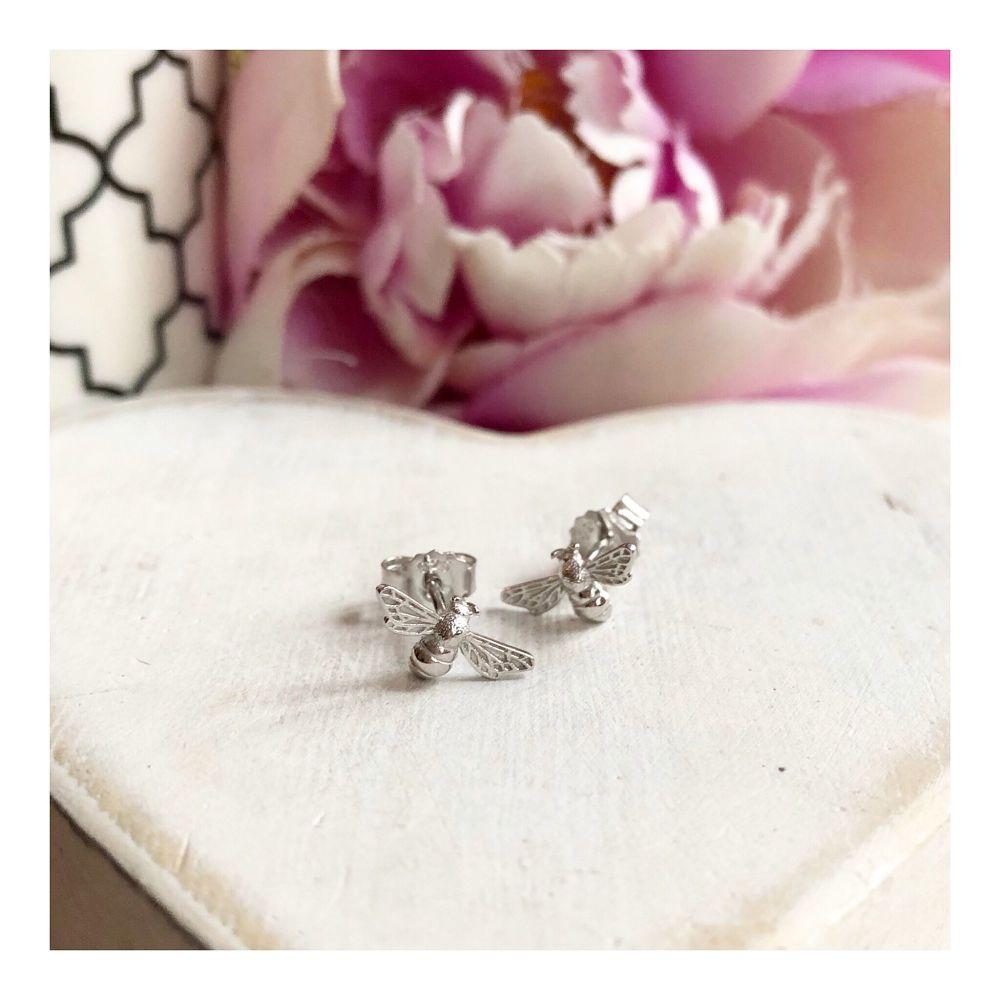 Sterling Silver Bee Stud Earring