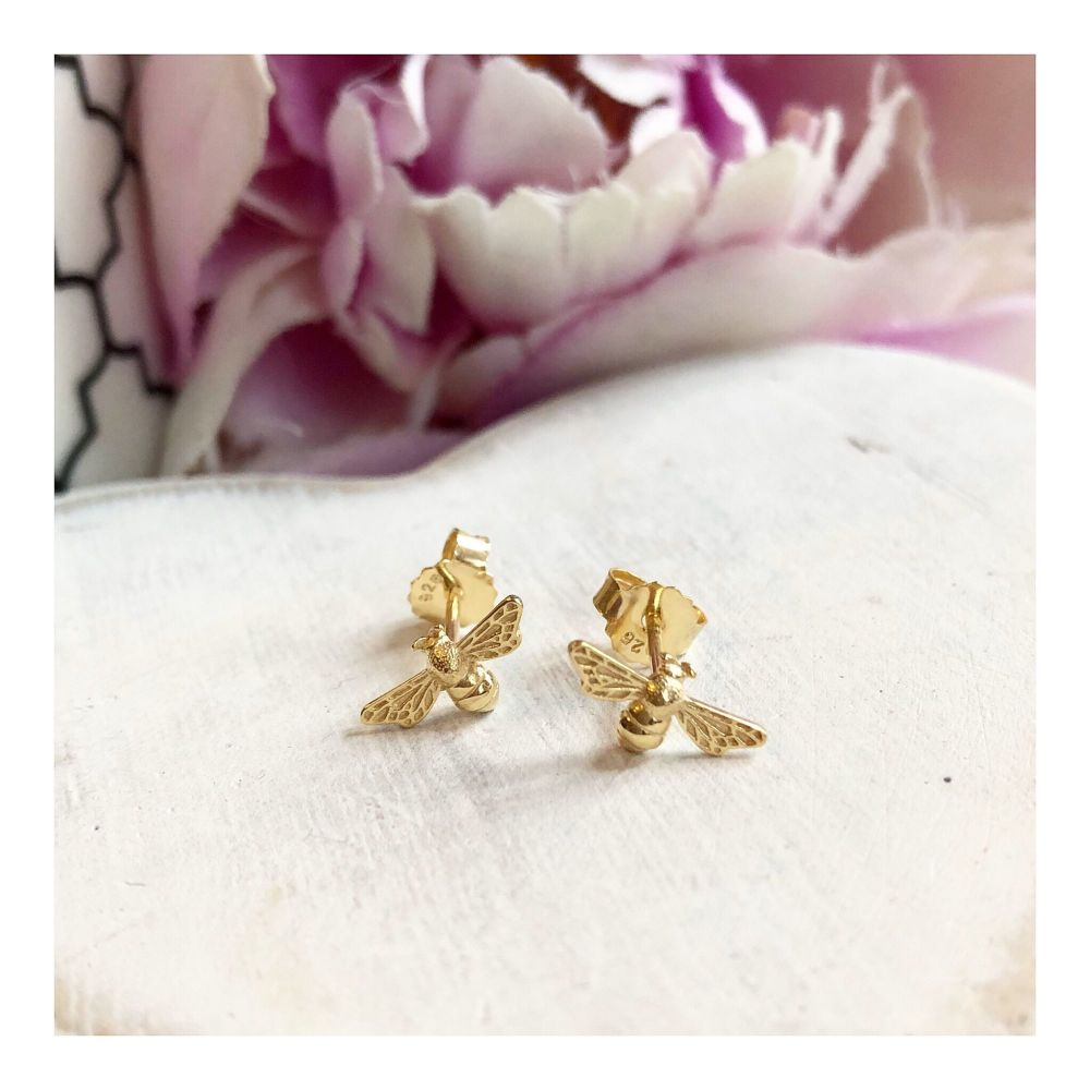 Gold Bee Stud Earring