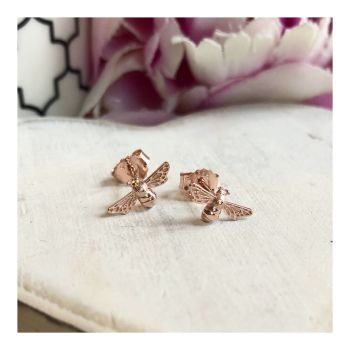 Rose Gold Bee Stud Earring