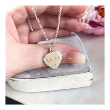 Sterling Silver Personalised Heart Pendant