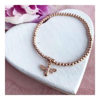 Rose Gold Bee Ball Bracelet