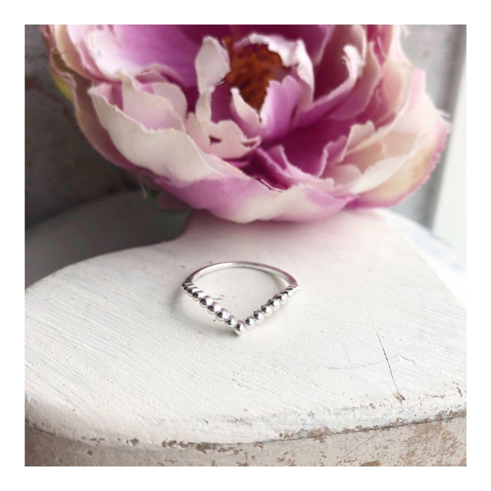 Bobbled Wishbone Ring